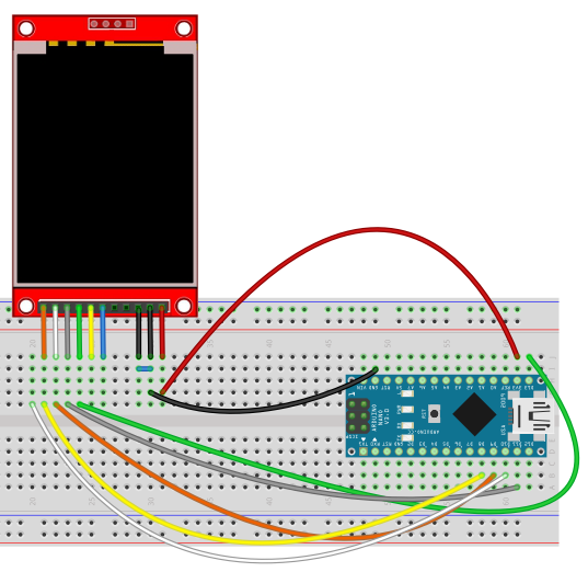 Arduino Display TFT breadboard